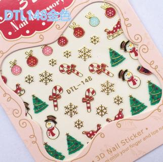 Rocooart Water Transfer Nails Art Sticker Merry Christmas 3D Golden Elements Nail Wrap Sticker Tip