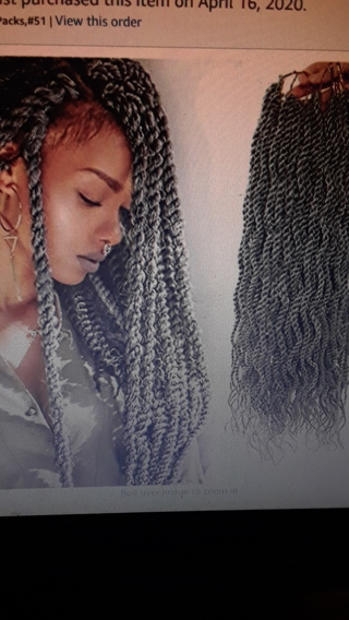 18 inch Gray Wavy Senegalese Twist Crochet Braids.
