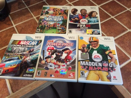 NINTENDO WII Video Game Lot MADDEN 09 NASCAR UNLEASHED more