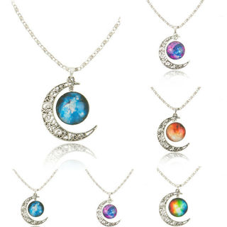 WOMEN TRENDY GALACTIC GLASS PENDANT MOON NECKLACE