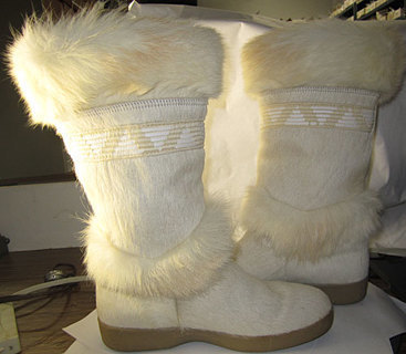 FUR MID CALF BOOT MADE IN ITALY TECNICA Boots with Exotic Details EXCELLANT CONDITION NICE!!