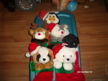christmas stockings with plush animal heads