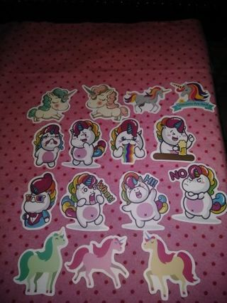 ❤✨❤✨❤15 BRAND NEW ASSORTED KAWAII UNICORN STICKERS❤✨❤✨❤