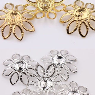 50Pcs New Golden/Silver Filigree Flower Cone End Bead Caps Charms 20mm