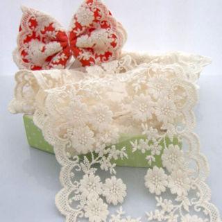 White Vintage Cotton Lace Edge Trim Wedding Mesh Ribbon Applique Sewing Craft