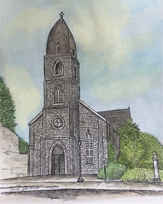 "ST MARY'S in Fredericksburg - 5 x 7"" Art Card by artist Nina Struthers - GIN ONLY"