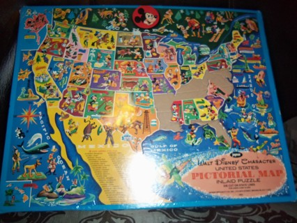 Free: walt disney character united states pictorial map inlaid ...