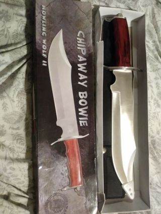 New in box 17.5 inch Bowie knife Chipaway cutlery Howling Wolf 2 knife