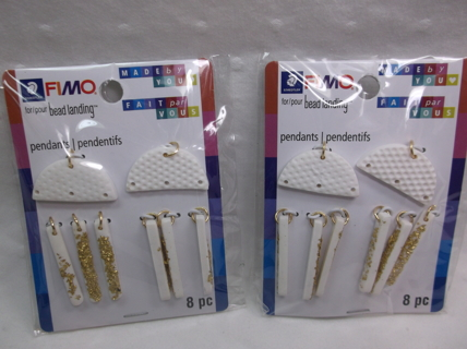 2 New in Package White Fimo Earring Accessories Making Kit