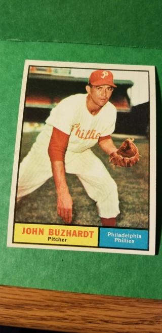 1961 - TOPPS EXMT - NRMT BASEBALL - CARD NO. 3 - JOHN BUZHARDT - PHILLIES