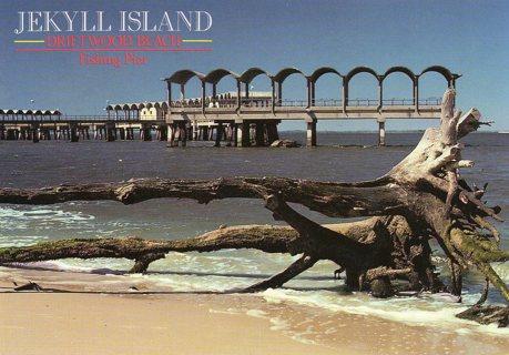 Vintage Unused Postcard: Driftwood Beach & Fishing & Pier, Jekyll Island, GA