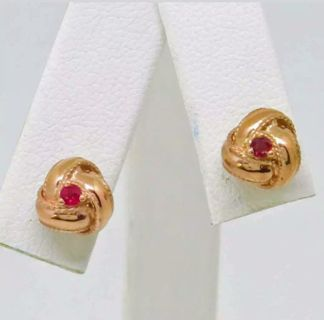 Stunning Rose Gold Ruby Love Knot Stud Earrings