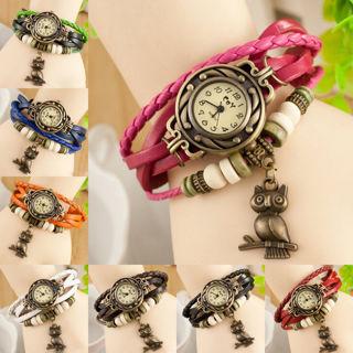 Vintage Weave Leather Bracelet Owl Decoration Quartz Wrist Watch