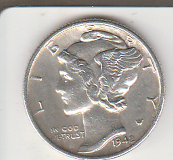 1942 Silver Mercury Dime