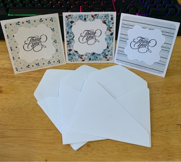Blue Rose Thank You Cards w/ Envelopes