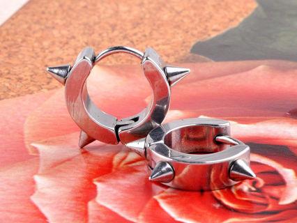 Stainless Steel 2pc Hoop Spiked Earrings (Silver)