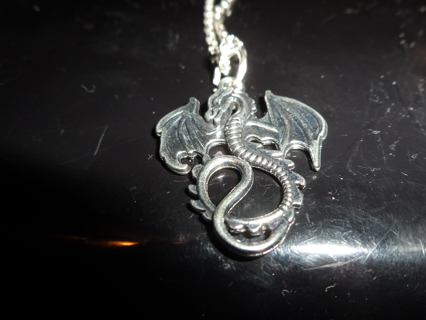TIBETAN SILVER DRAGON ON STERLING SILVER CHAIN AND STAR EARRINGS