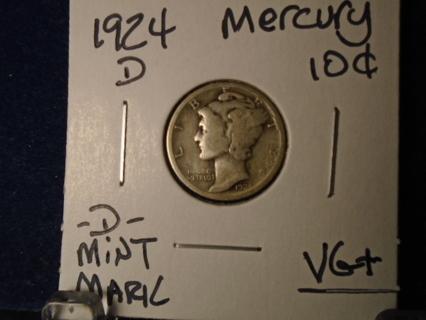 1924-D U.S. MERCURY DIME -S- MINT MARK!