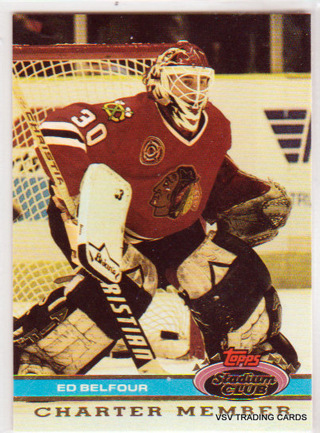Ed Belfour, 1991 Topps Stadium Club Charter Member Card, Chicago Blackhawks  (1)