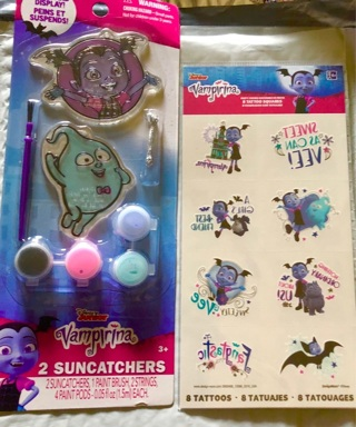 BNIP Disney Jr's, VAMPIRINA Auction- 2 Pack of Suncatchers and 8 Pack Removable Tattoos