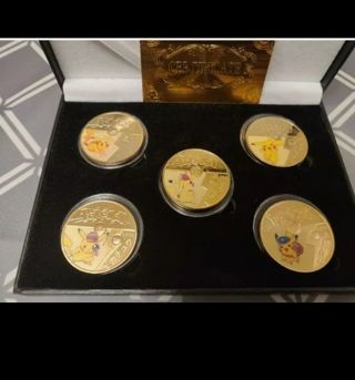 24K GOLD PLATED 1oz POKEMON PIKACHU METAL 5 COIN SET/With Certificate and Box