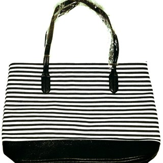 NEW! Beautiful Navy Blue Stripe Tote!