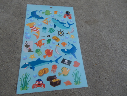 Colorful Fun sheet of UNDER THE SEA themed stickers--New
