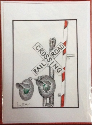 """RAILROAD CROSSING SIGN - 5 x 7"""" art card by artist Nina Struthers - GIN ONLY"""
