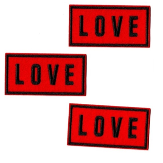 NEW 3-PACK LOVE PATCHES EMBROIDERED IRON ON BADGES