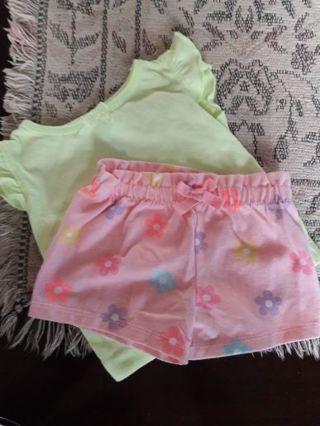 T-shirt (neon green) & pink flowered shorts. (0-3 months)