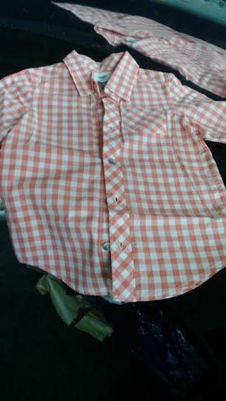 Old Navy- Boys size 5T- 5 button camp shirt- orange/ white check