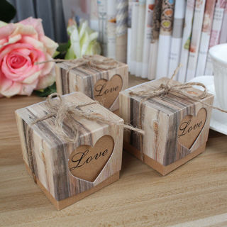 10PCs Rustic Wedding Party Favor Love Heart Candy Box Sweet Cake