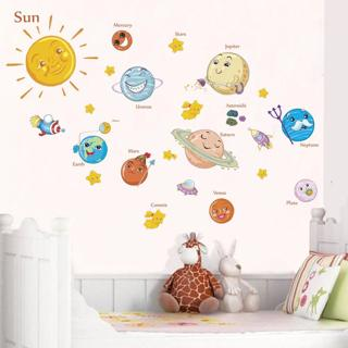 Solar System Cartoon wall stickers for kids rooms Stars outer space planets Earth Sun Saturn Mars