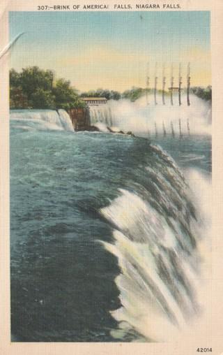 Vintage Used Postcard: 1943 Brink of American Falls, Niagara Falls, NY