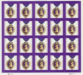 10 PURPLE HEART BRAND NEW 1ST CLASS FOREVER STAMPS