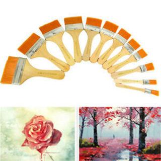 12Pcs/set Paint Brush Flat Head Cleaning Brush Gouache Acrylic Painting Brush