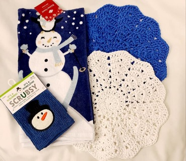 """Crochet 2 - 9"""" wash/dish towels plus 1 terry cloth dish towel and 1 Scrubbie"""
