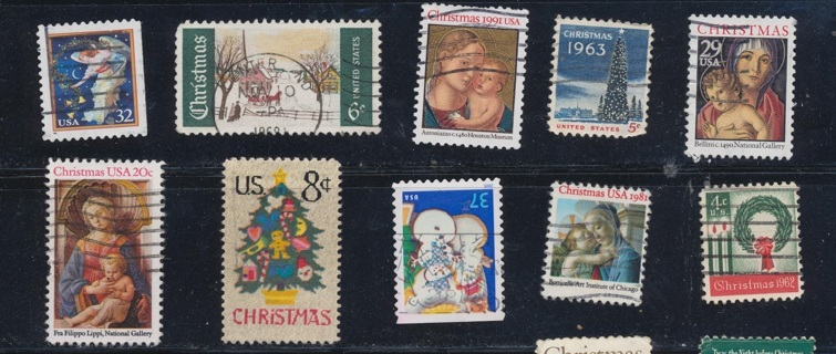 United States:  (10) Christmas Stamps, All Different, Used, In Excellent Condition - CHS-1032