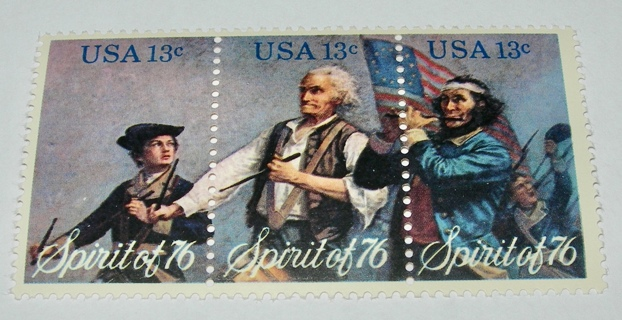 Scott #1629-31, Spirit of '76, Strip of 3 Useable 13¢ US Postage Stamps