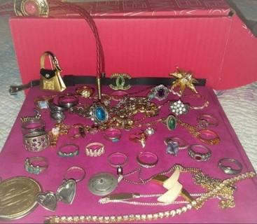Vintage Lot Indian Sterling Crown Trifari Avon Rings Necklaces Bracelets More