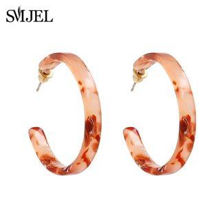 SMJEL New Summer Hot Acrylic Resin Hoop Statement Earrings For Femme Bijoux Vintage Geometric