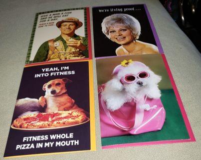 Set of 4 Humorous Birthday Greeting Cards