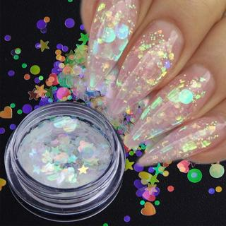 1 box Aurora AB Color Nail Sequins Paillette Mermaid Nail Flakes Glitter Manicure Star Heart Round