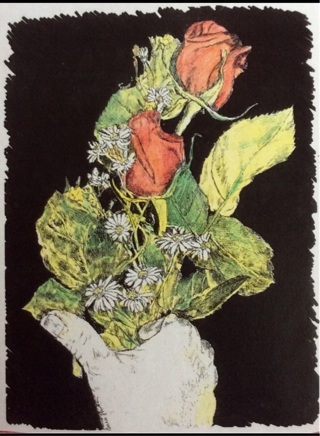 "FISTFUL OF ROSES - 5 x 7"" art card by artist Nina Struthers - GIN ONLY"