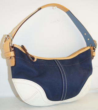 Free Small Coach Navy Blue Canvas White Leather Trim Hobo Shoulder Bag Purse
