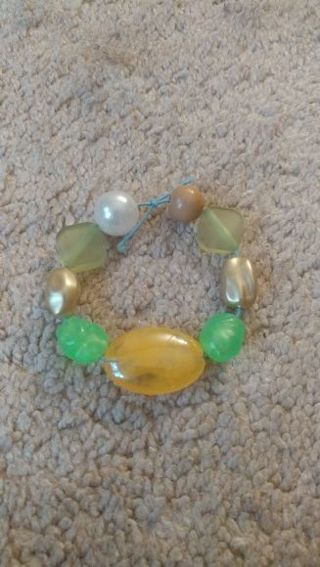 Green and Orange Beaded Bracelet for Attracting Wealth