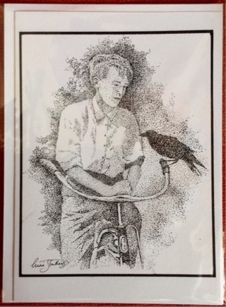 "BOY WITH PET CROW - 5 x 7"" art card by artist Nina Struthers - GIN ONLY"