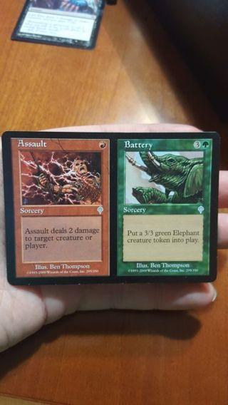 "MTG, ""Assault & Battery "" , Split spell !! NEAR MINT, FUN SPELL FOR RED GREEN DECKS."