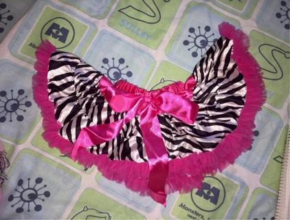 Zebra Print Tutu Trimmed In Hot Pink