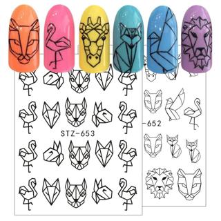 1pcs Nail Art Water Transfer Sticker Hollow Tattoo Decals Geometry Flamingo Dog Slider Adhesive De